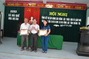 Xã Hải Quế có 2 cá nhân được nhận giấy khen của giám đốc CRD trao tặng