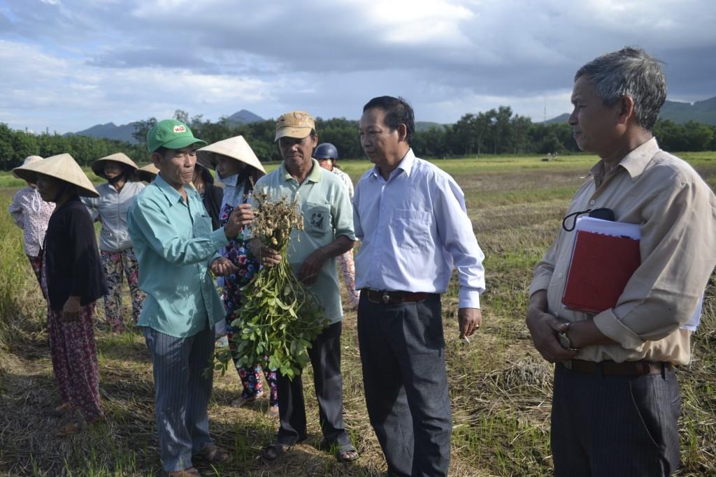 Ông Ngô Thanh Tranh trao đổi với chuyên gia về lạc trường ĐH Nông Lâm